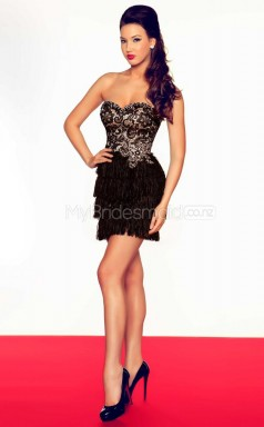 Black Sheath Sweetheart Lace Short Ball Dresses (NZJT06681)
