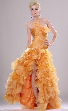 Orange Sheath Strapless Organza Long Ball Dresses (NZJT06699)