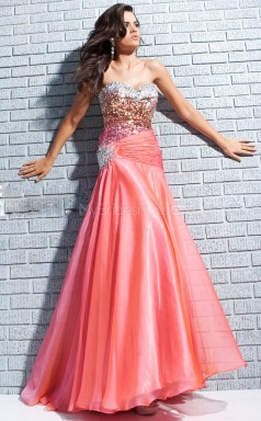 Orange Mermaid Sweetheart Silk Like Chiffon Long Ball Dresses (NZJT06728)