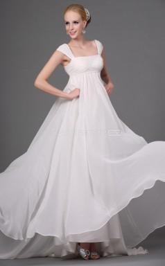 Chiffon A-line Square Sweep Train White Ball Dresses (NZJT06811)