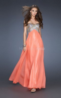 Orange A-line Sweetheart Chiffon Long Ball Dresses (NZJT06828)