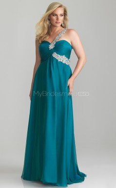 Chiffon A-line One Shoulder Sleeveless Long Plus Size Bridesmaid Dress (NZPSD06-034)