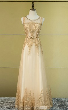 Vintage Gold Scoop Long A Line Organza and Lace Ball Gowns NZTB06033
