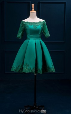 Adult Green Short Off The Shoulder A Line Satin Ball Gowns with Short Sleeves NZTB06047