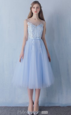 Chic Lace and Tulle Light Blue A Line Ankle Length Scoop Ball Gowns NZTB06052