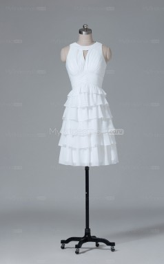Ivory Chiffon A Line Scoop Neck Short Wholesale Clearance Price Bridesmaid Dresses BD-NZS098