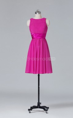 Bateau Neckline A Line Short Chiffon Fuchsia Wholesale Clearance Price Bridesmaid Dress BD-NZS402