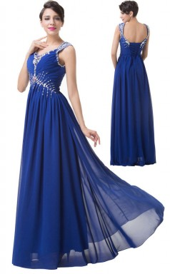 Long Straps Blue Beading Chiffon Lace-Up Bridesmaid Dress BSD-NZ1001 5Colors